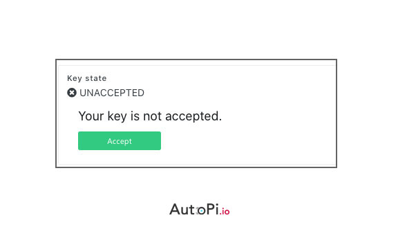An illustration of a disapproval from Autopi in a device key