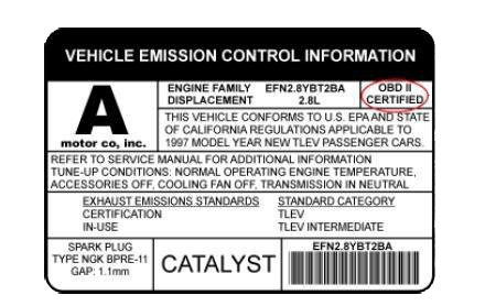 Vehicle Emission Control Information sticker