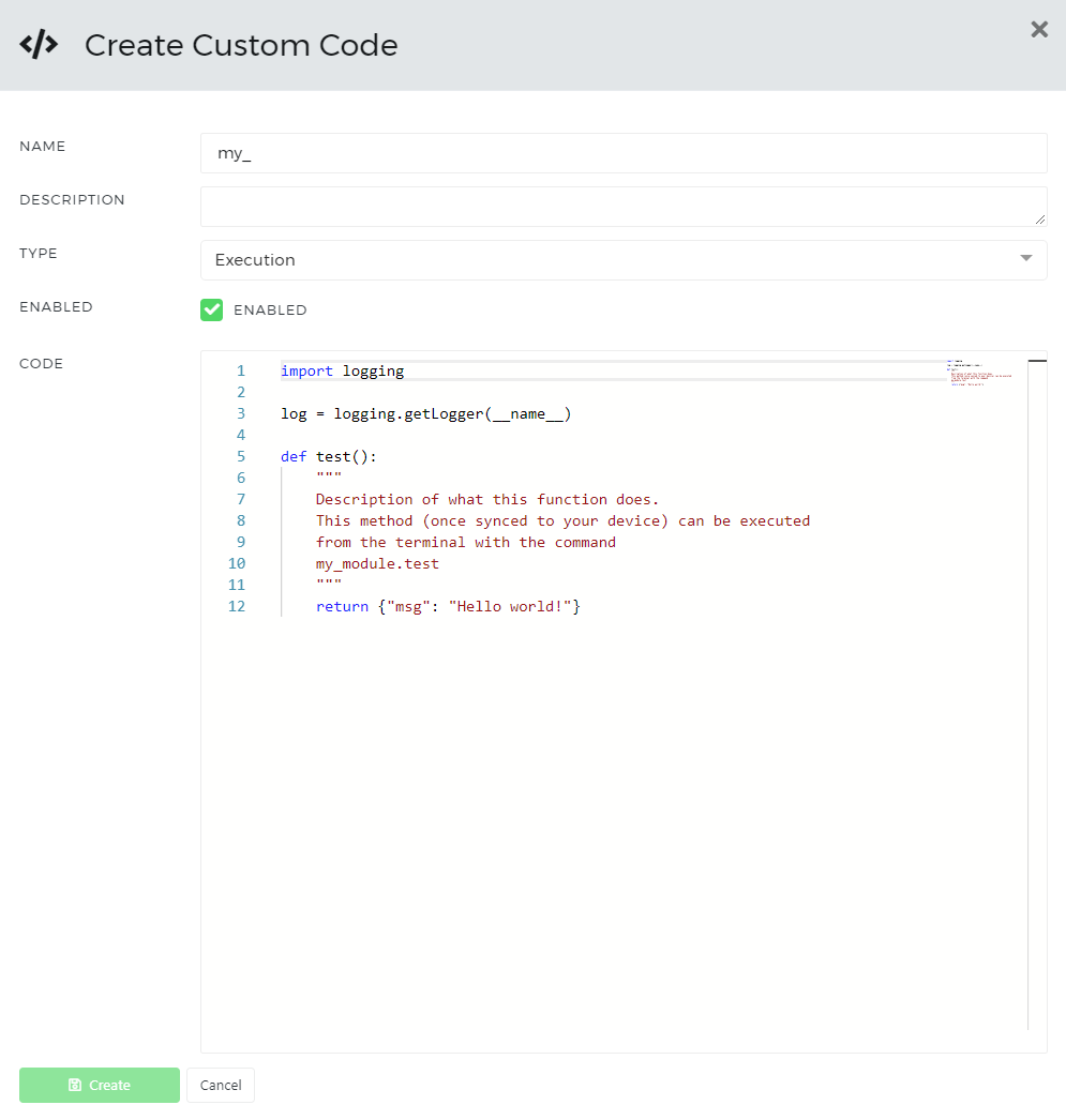 An example of a custom code configuration in AutoPi cloud